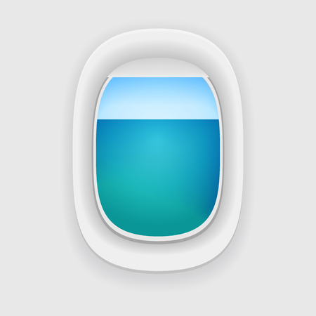 window view: Aircraft Window with a sea or ocean view. airplane porthole. Illustration