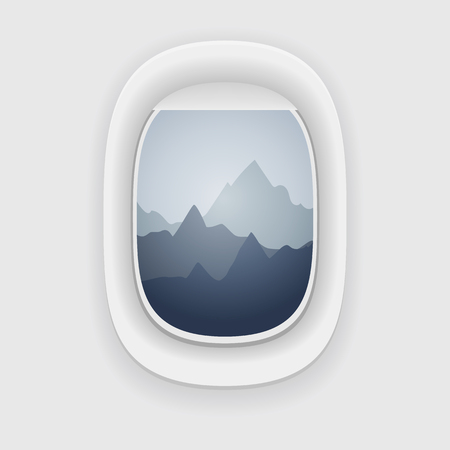 window view: View from a airplane window. Mountains winter peaks. Illustration