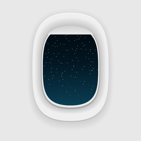 jorney: Airplane window, or a porthole, at night. Star sky view. Long jorney concept. Illustration