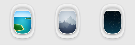 long night: Window of airplane, long flight concept. Vacation, traveling template. Day, evening and night shift during flight.