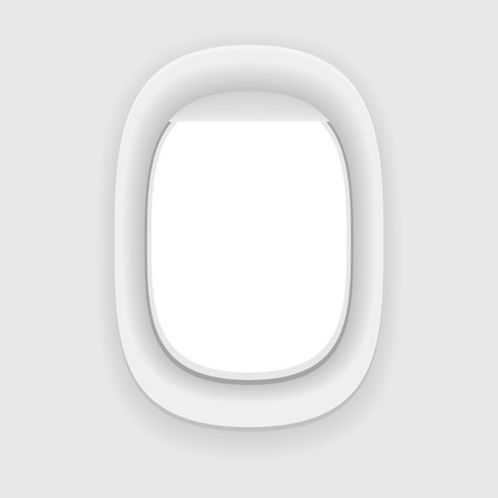 Aircraft window. Plane porthole isolated on white. Vector illustration.