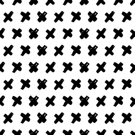 Seamless vector pattern with cross symbols. Hand drawn doodle background.