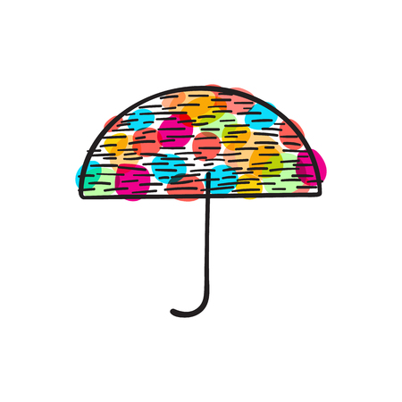 Colorful summer umbrella with dots, doodle illustration icon