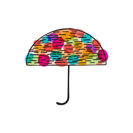 downpour: Illustration of cute doodle umbrella with colorful spots Stock Photo