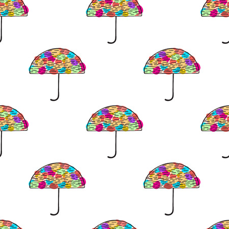 Umbrella seamless pattern. Cute colorful autumn background.