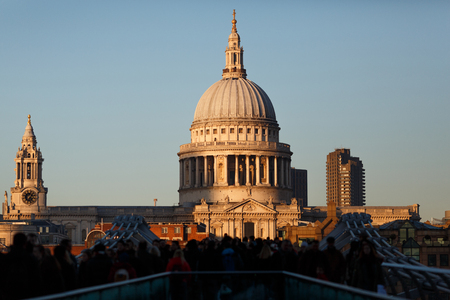 St. Pauls Cathedral in London. Close-up sunset view.
