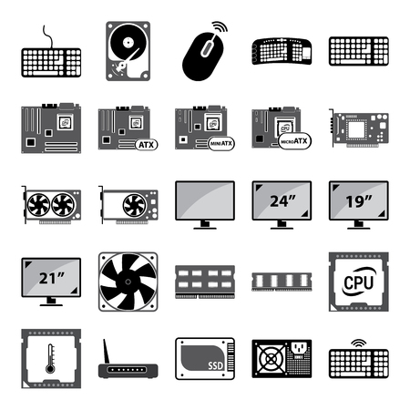 lcd panel: vector illustration of pc components vector set icon