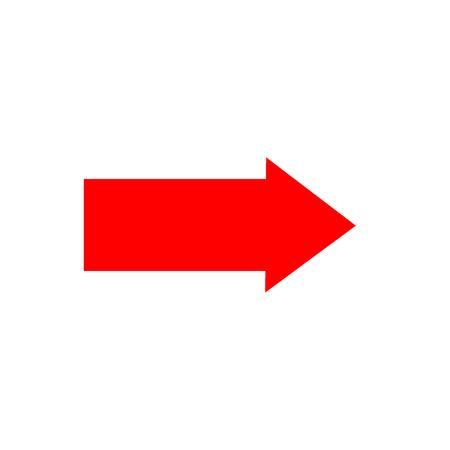 Strzałka znak czerwona ikona na białym tle. Wektor do prawej znaków symbolu. Czerwona naklejka na białym tle ilustracji wektorowych. Płaska grafika wektorowa. Ilustracja wektorowa.
