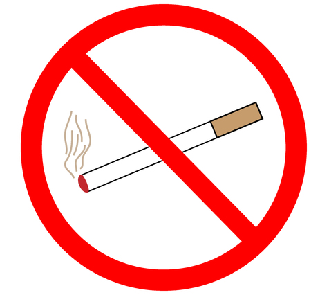 smoking ban: No smoking sign in red ring. Isolated on white background. No smoking symbol marks. Smoking ban sign picture. Red sticker vector illustration. Flat vector image. Vector illustration.