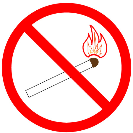 forewarning: Not light a match sign in red ring. Isolated on white background. Not light fire symbol marks. Not light fire marks picture. Red sticker vector illustration. Flat vector image. Vector illustration Illustration