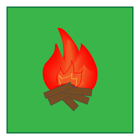kindle: Kindle fire sign in green square. Isolated on white background. Kindle campfire symbol marks. Kindle campfire sign picture. Green sticker vector illustration. Flat vector image. Vector illustration Illustration