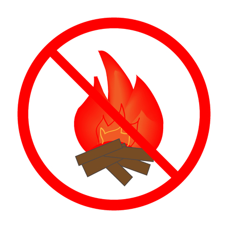 kindle: No the kindle fire sign in red ring. Isolated on white background. No the kindle fire marks. No fire sign picture. Red sticker vector illustration. Flat vector image. Vector illustration.