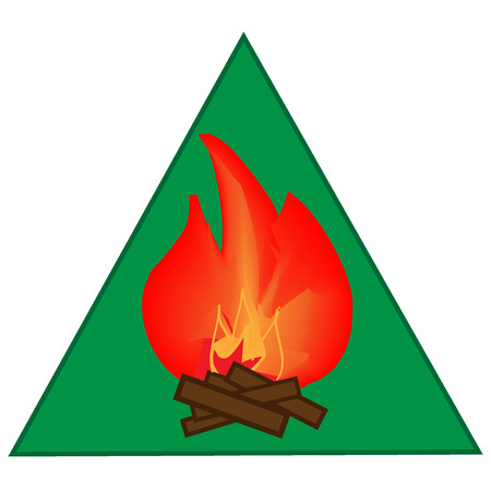 ember: Kindle campfire sign in green triangle. Isolated on white background. Kindle campfire symbol. Kindle campfire  picture. Green sticker vector illustration. Flat vector image. Vector illustration