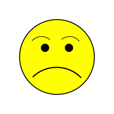 encode: Smile angry sign on white background. Isolated on white background.  Symbol grumpy. Sadness picture . Yellow sticker illustration. Vector illustration.