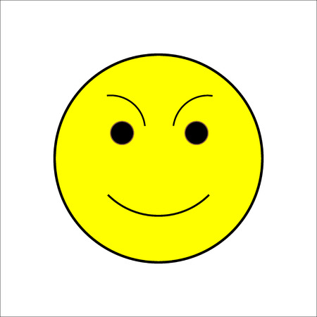 comely: Smile happiness sign on white background. Icon fumn happy. Symbol good mood. Isolated yellow sticker. Modern stylish marks. Colorful template for prints. Vector illustration. Illustration