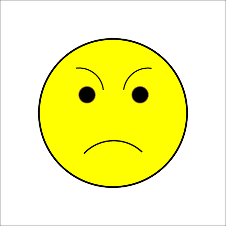 role play: Smile sad sign on white background. Isolated on white background. Symbol sad mood. Displeased mark. Cute picture. Yellow sticker illustration. Vector illustration