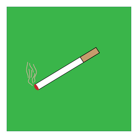 smoking place: You can smoke sign in green square. Isolated on white background. Smoking area symbol marks. You can smoke sign picture. Green sticker vector illustration. Flat vector image. Vector illustration.