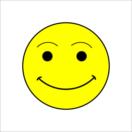 episode: Smile happiness sign on white background. Icon fumn happy. Symbol good mood. Isolated yellow sticker. Modern stylish marks. Colorful template for prints. Vector illustration. Illustration