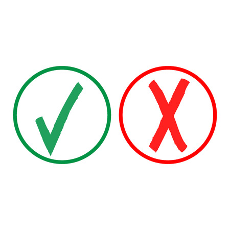 green tick: Tick and cross sign in color circle isolated on white background. Green tick and red cross sign. Tick and cross symbol . White sticker vector illustration. Flat vector image. Vector illustration.