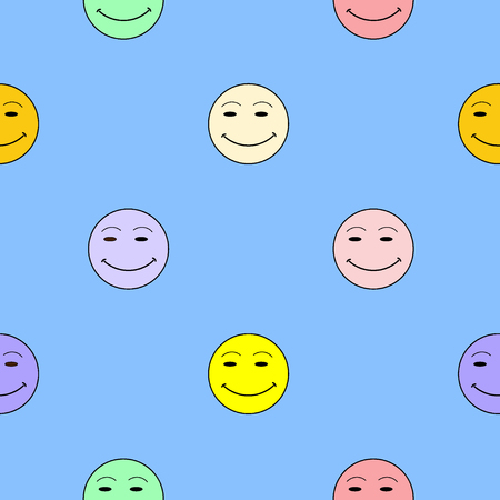 incomprehensible: Smile happiness sign on blue background. Fashion graphic background design Modern stylish abstract colorful texture. Template for prints, textiles, wrapping, wallpaper, website etc VECTOR illustration Illustration