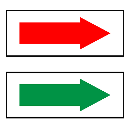 double page: Arrow sign  red and green icon isolated on white background. Vector to right  symbol marks. Red green  sticker  isolated in black rectangle . Flat vector image. Vector illustration