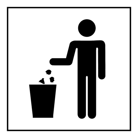 no image: Keep clean icon. Do not litter sign. Silhouette person on white background. No throwing garbage mark in white square. Take care of clean nature symbol.  Flat vector image. Vector illustration.
