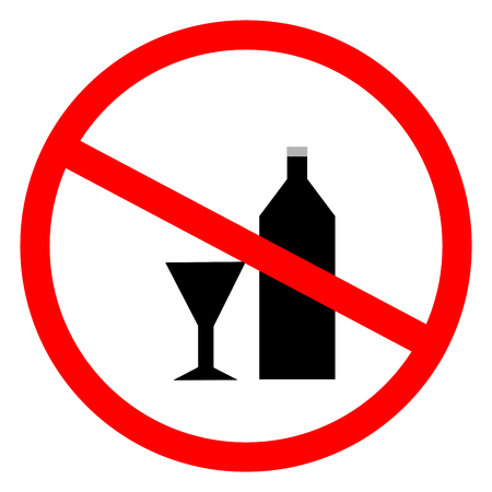 no alcohol: No alcohol sign in red ring. Isolated on white background. No drink  symbol. No alcohol sign picture. White sticker vector illustration. Flat vector image. Vector illustration., Illustration
