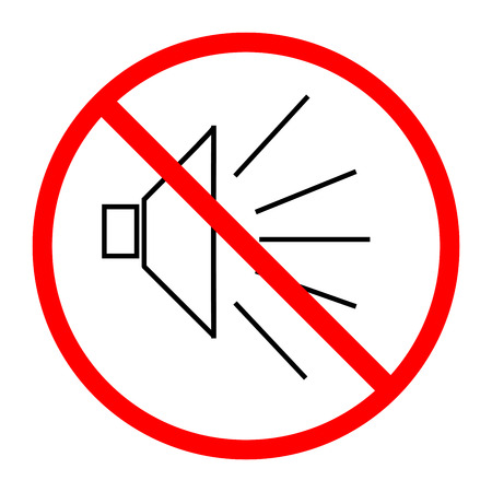 aloud: No noise sign in red circle on white background. Symbol silence. Forbidden volume mark. Ban speaker. Flat vector image. Vector illustration. Illustration