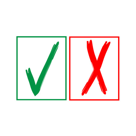 approved sign: Tick and cross sign in color square isolated on white background. Green tick and red cross sign. Tick and cross symbol . White sticker vector illustration. Flat vector image. Vector illustration. Illustration