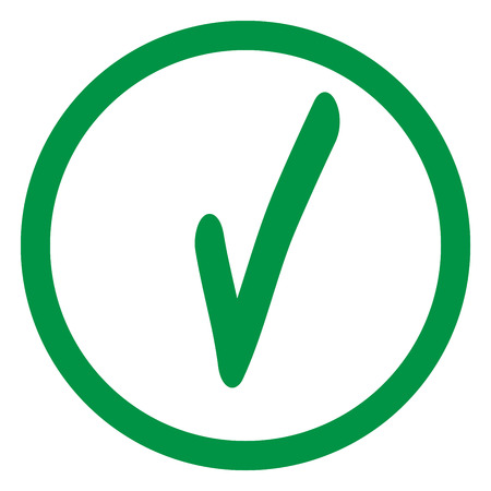 agree: Tick green sign in green circle. Isolated on white background. Symbol correct in green circle. Positive marks. Agree choice sticker . Flat vector image. Vector illustration