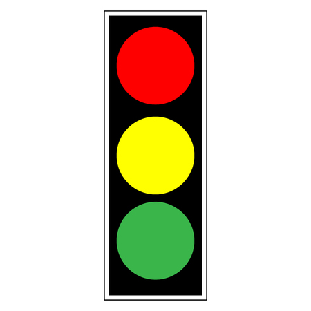 regulate: Traffic light sign. Icon stoplight in black rectangle on white background. Symbol regulate safety. Regulation and  warning mark. Flat vector image. . Vector illustration.
