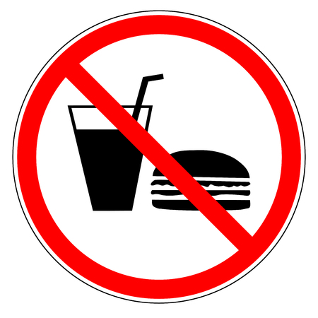 no food: Do not eat and drinks sign in red circle. Icon restriction eating on white background. Healthy food concept. Sticker silhouette forbidden eating and drinks. Flat vector image. Vector illustration.