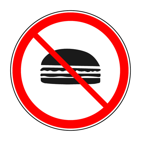 restriction: Do not eat sign in red circle. Icon restriction eating on white background. Healthy food concept. Sticker silhouette hamburger forbidden eating. Flat vector image. Vector illustration.