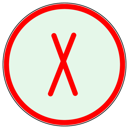 Cross red sign in red circle. Isolated on white background. Red symbol wrong . Negative marks. Reject picture. White sticker. Flat vector image. Vector illustration.