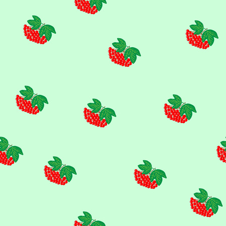 guelder rose: Viburnum seamless pattern. Bunch red berry on green background. Sumbol health. Bright bush guelder rose. Flat vector image. Vector illustration Illustration