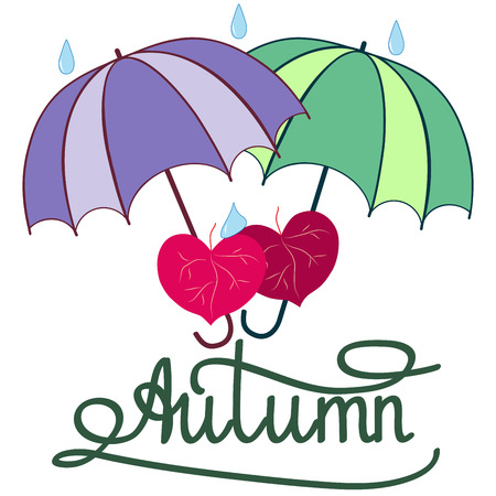 autumn fashion: T shirt typography graphic with quote Autumn. Fashion print for sports wear. Template for t, apparel, card, poster. Design element. Couple heart as symbol of love. Vector illustration