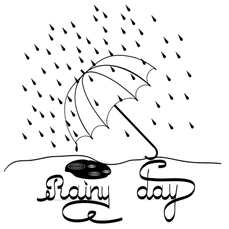 t shirt blue: T shirt typography graphic with quote Rainy day. Fashion print for sports wear. Template for t, apparel, card, poster. Design element. Umbrella as symbol of rain. Vector illustration