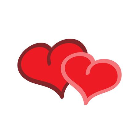 Couple heart cartoon sign. Romantic icon health. Colorful icon vegetarian life. Flat vector image. Vector illustration.