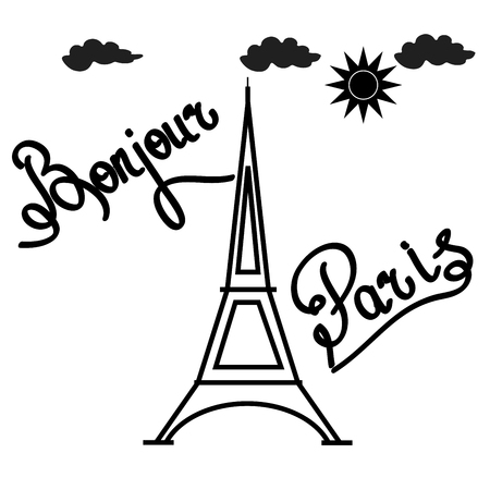 bonjour: T shirt typography graphic with quote Bonjour Paris. Fashion print for sports wear. Template for t shirt, apparel, card, poster. Design element. Eiffel Tower as symbol of love. Vector illustration