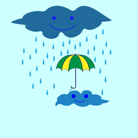 clouds scape: T shirt typography graphic cloud let and rain. Fashion print for sports wear. Template for t shirt, apparel, card, poster. Design element. Rain as symbol of good mood. Vector illustration Illustration