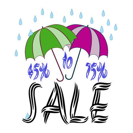paper umbrella: Sale umbrella sign. Symbol seasonal discount. Label decrease price. Design element. Vector illustration.
