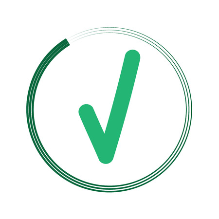 agree: Tick green sign in green circle. Isolated on white background. Symbol correct in green circle. Positive marks. Agree choice sticker. Flat vector image. Vector illustration