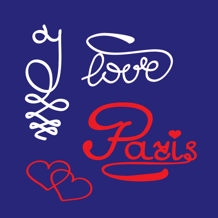 i love paris: T shirt typography graphic with quote I love Paris. Fashion print for sports wear. Template for t shirt, apparel, card, poster. Design element. Heart symbol of love. Vector illustration Illustration