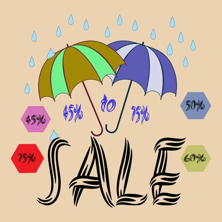 Sale umbrella sign. Symbol seasonal discount with qoute sale. Label decrease price. Design element. Vector illustration. Ilustrace