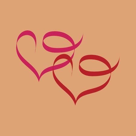 manos unidas: Corazón dos cinta. Ilustración de día de San Valentín cinta rosa, vacaciones de símbolo. Símbolo romántico vinculado, unirse, amor, pasión y boda. Elemento gráfico aislado. Imagen vectorial plana. Ilustración vectorial