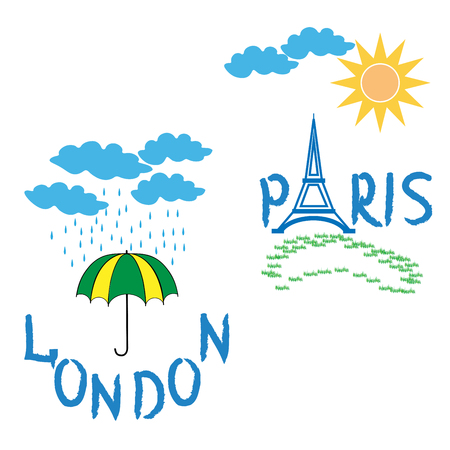 London Paris. Sign Eiffel tower and rain weather on white background. Fashion print for sports wear. Template for t shirt, apparel, card, poster. Design element. Symbol of tourism. Vector illustration Illustration