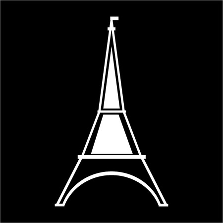 eifel: Eifel tower sign. White isolated silhouette on black background. Eiffel Tower as symbol of Paris and love. Template for t shirt, apparel, card, poster. Design element. Vector illustration