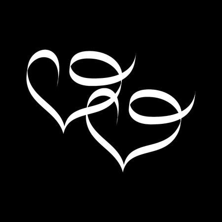 manos unidas: Corazón dos cinta. Ilustración del día de San Valentín. romántico símbolo ligado, unir, el amor, la pasión y la boda. Plantilla de colores para impresiones, textiles, envoltura, papel tapiz, etc imagen plana. ilustración vectorial