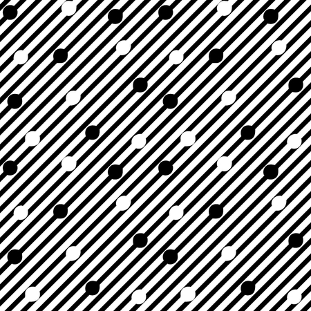 Striped and circle seamless pattern. Fashion graphic background design. Modern stylish abstract texture. Monochrome template for prints, textiles, wrapping, wallpaper, website. Vector illustration