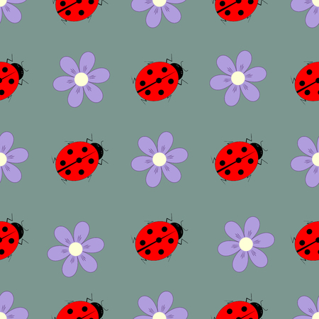 Ladybird and flower seamless pattern. Fashion graphic background design. Modern stylish abstract texture. Colorful template for prints, textiles, wrapping, wallpaper, website etc. Vector illustration